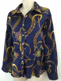 Ralph Lauren Women's 16 Bridle #Equestrian Blouse Button Down Shirt Horse L XL #LaurenRalphLauren