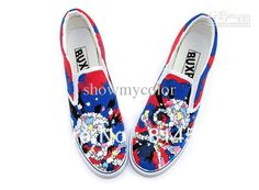 Best Personalized Fashion Shoes Skull Heads Hand Painted Slip on Canvas Shoes for Adults Online with $60.22/Pair | DHgate