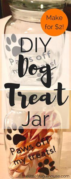 Easy Cricut Craft: DIY Dog Treat Jar – The Little Frugal House - Diycraftstosell. Dog Crafts, Animal Crafts, Diy Crafts To Sell, Selling Crafts, Sell Diy, Dog Treat Container, Dog Treat Jar, Diy Tumblr, Frugal
