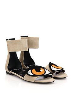 Pierre Hardy - Suede Eye Flat Sandals