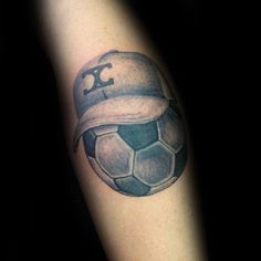 Soccerball With Hat Tattoos For Guys