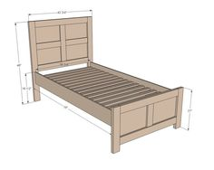 Emme Twin Bed plans via Ana White Diy Twin Bed Frame, Bed Frame Plans, King Size Bed Frame, Bed Plans, Twin Beds, Furniture Plans, Diy Furniture, Furniture Design, Plywood Furniture