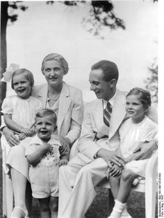 Magda and Joseph Goebbels with their children, Helga, Hildegard, and Helmut, Germany, 1937.  I posted this here because the father was Hitler's henchman and the children were INNOCENT victims.
