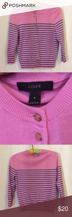 J. Crew Bubblegum Pink and Navy Striped Cardigan S No fading or piling on this classic J. Crew Cardigan in Bubblegum Pink and Navy/teal stripes. Extra button attached. Women's size S. J. Crew Sweaters Cardigans