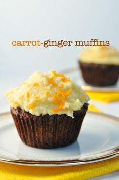 Carrot-Ginger Muffins with Coconut Butter Frosting. Grain-free, dairy-free. from Flavour and Savour