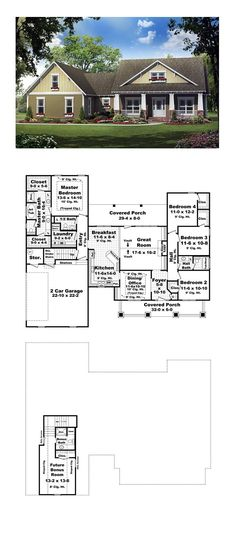 Bungalow House Plan 59193   Total Living Area: 2100 sq. ft., 4 bedrooms and 2.5 bathrooms. #bungalowhome