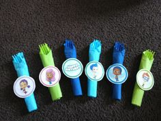 Cute way to decorate the silverware for bubble guppies birthday party