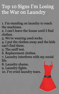Top 10 signs I've lost the war on laundry