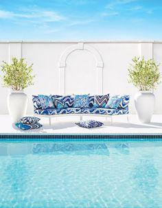 Pillows on pool deck (left to right):  Tangier Frame Print - Ocean 174740  Beauty Bark Print - Ocean 174711  Louis Nui Print - Ocean 174720    Sette: Carmel Coastline Print - Surf 174690    Pillows on Sette (left to right):  Kalaheo Print - Aqua 174660  Tangier Frame Print - Ocean 174740    #Schuamcher