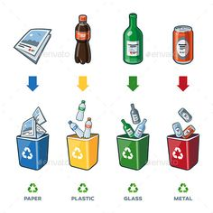 Buy Recycling Bins for Paper Plastic Glass Metal Trash by petov on GraphicRiver. Four recycling bins illustration with paper, plastic, glass and metal separation. Earth Day Crafts, Earth Day Activities, Trash Art, Plastic Glass, Recycling Bins, Plastic Recycling, Worksheets For Kids, Life Cycles, Painting For Kids