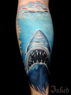 Jaws piece by Randy Engelhard #InkedMagazine #horror #shark #film #tattoo #Tattoos #inked #ink
