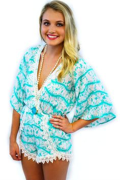 Mint Lace Romper - $44.95 - The Mint Lace Romper now available from Envy Boutique. You will look adorable in this Mint Lace Romper, so Grab one today they are going fast!  | available at http://www.envyboutique.us/product/mint-lace-romper/ |  #Envy #Boutique #fashion #fashiontrends