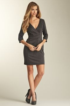 3/4 Length Sleeve Ruched Side Zip Dress