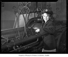 Marcella Delfel, first woman in the Seattle Fire Department, Seattle, 1942