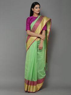Green Handwoven Banarasi Cotton Silk Saree