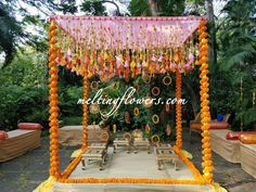 Mandap is the centre of attraction in any weddings. Mandaps are done with traditional flowers to bring in the auspicious elements of the wedding. We specialise in best of the mandap designs with flowers and fabric. Daisy Wedding Flowers, Country Wedding Flowers, Neutral Wedding Flowers, Purple Wedding Bouquets, Wedding Flower Decorations, Ranunculus Wedding, Flowers Decoration, Ceremony Decorations, Diy Flowers