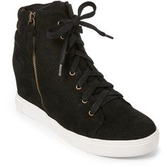 Steve Madden Black Llynn Perforated Wedge Sneakers ($30) ❤ liked on Polyvore featuring shoes, sneakers, black, black sneakers, steve madden, black wedge sneakers, round toe sneakers and lace up wedge sneakers