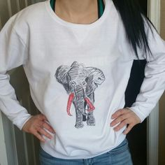 Elephant sweatshirt Hand drawn/painted  ✔Heat transfered at 400 degrees  ✔V necks, tank tops, crew necks, sweatshirts  ✔100% cotton or mostly cotton  ✔Will not wash off or fade Thanks for stopping by Underground Apparel  Tops Sweatshirts & Hoodies