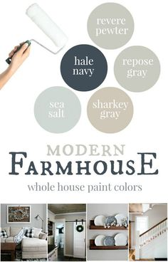MUST pin post! The best modern farmhouse paint colors with real life pictures to show each color.  Also includes tips, tricks, and advice about every color - such a great resource! Paint Color Palettes, Neutral Paint Colors, Interior Paint Colors, Paint Colors For Home, House Colors, Interior Painting, Interior Design, Fixer Upper Paint Colors, Gray Paint