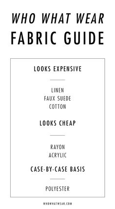 Curious which clothing materials look expensive or cheap? We break it down.