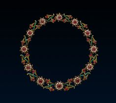 Giardinetti Necklace, c.1760, Gold, Silver, Diaminds, Emerald, Ruby. Gold and silver necklace composed of twelve graduated flower heads each centred on a ruby bordered with diamonds and edged with ruby petals alternating with pairs of tulip shaped ruby and diamond flowers to each side of an emerald stem.