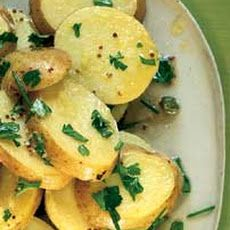 Danish Potato Salad Ingredients 3 lbs  yukon gold potatoes (inches in diameter)  1/2 cup  chopped fresh chives (finely, green onion tops)  1/2 cup  fresh parsley (chopped)  2 tbsps  capers (drained)  3 tbsps  white wine vinegar  1 tbsp  liquid (caper, jar)  1 tsp  dijon mustard  1/2 cup  extra-virgin olive oil