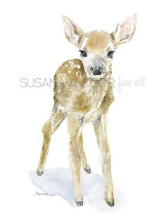 Deer Fawn Watercolor Painting 12 x 16 Gallery Wrapped Canvas Print - Woodland Animal - Nursery Art Watercolor Animals, Watercolor Print, Watercolor Paintings, Watercolors, Easy Watercolor, Art And Illustration, Animal Illustrations, Woodland Animal Nursery, Woodland Animals