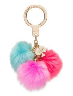 triple pom pom keychain - Kate Spade New York Supernatural Style Car Accessories, Fashion Accessories, Fru Fru, Fur Pom Pom, Outdoor Outfit, Girly Things, Purses And Bags, Tassel, Kate Spade