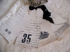 Handmade French Gift Tags Shabby White Tags Vintage by QueenBe, $7.25