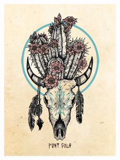 by Raych Pony Gold. Illustration by Raych Pony Gold. Wüsten Tattoo, Piercing Tattoo, Tattoo Drawings, Piercings, Native American Tattoos, Native Tattoos, Bull Skull Tattoos, Bull Skulls, Illustration Cactus