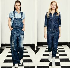 G-Star RAW Amsterdam 2016 Spring Summer Womens Lookbook - Raw Dry Vintage Selvedge Denim Jeans Cargo Pockets Outerwear Coat Parka Onesie Jumpsuit Coveralls Boiler Suit Bib Brace Dungarees Paint Splatter Stains Distressed Wide Leg Baggy Blouse Sneakers Faded Retro Suspenders Crop Top Midriff Jacket Knee Panels Dress Camo Camouflage Jungle Military Shorts White Overalls, Denim Overalls, Denim Jeans, Military Shorts, Salopette Jeans, Denim Jumpsuit, Raw Denim, G Star Raw, Facon