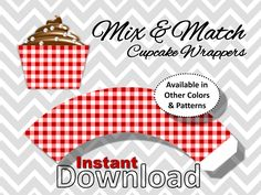Crimson Red Gingham Cupcake Wrappers - Instant Download - Printable Party Decorations by CameoPartyDesigns on Etsy https://www.etsy.com/listing/153472199/crimson-red-gingham-cupcake-wrappers