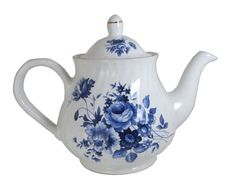 Arthur Wood Saxony Blue and White Rose Floral Bouquet, Fine Bone China Fluted 6 Cup Teapot