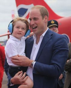 Prince George of Cambridge and Prince William , Duke of Cambridge during a visit to The Royal International Air Tattoo at RAF Fairford in Fairford , England 🚁 -July . Their smiles 💙😃😍.