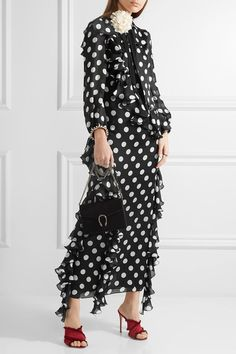 Gucci | Ruffled printed silk-charmeuse gown | NET-A-PORTER.COM
