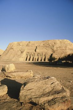 Abu Simbel, Egypt  This is the small temple built to honor his queen...his was next to it..bigger of course! It wasn't built near a city but on the Nile to show people from other countries what a rich and powerful country they were.