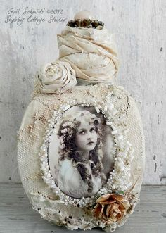 Art Bottle...i could do this with lace and the liquid paper i have