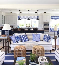 As promised yesterday, we are on the second leg of our summer showhouse tour, and today we are taking a look into Coastal Living& Ide. Blue Rooms, White Rooms, Coastal Living Rooms, Living Room Decor, Coastal Cottage, Style At Home, Hm Deco, White Decor, Beach House Decor