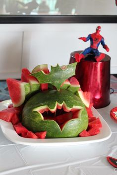 Coby's Superhero 3rd Birthday Batman Watermelon Carving for ideas