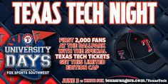 Wednesday is #TexasTechNight at Globe Life Park! Get your discounted tickets: http://atmlb.com/1RlwvCu