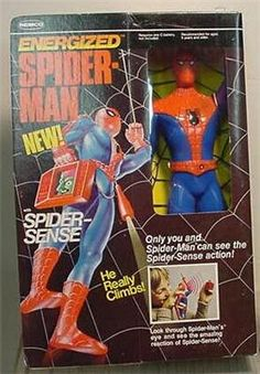 Energized Spiderman - battery operated - climbed cable in arm and light that plugged into belt