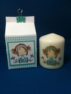Handmade decorated candle with matching cute milk carton box!