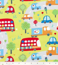 Buses, cars & trucks cover this snuggle flannel fabric :)
