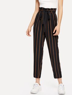 Casual Striped Tapered/Carrot Regular Zipper Fly High Waist Black Crop Length Self Belt Striped Pant Skirt Pants, Pants Outfit, Harem Pants, Ropa Semi Formal, Fashion Pants, Fashion Outfits, Tartan Pants, Girl Outfits, Cute Outfits