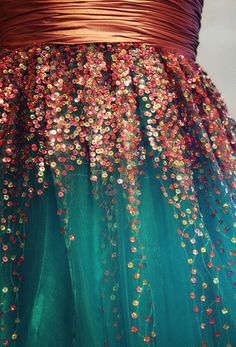 teal and copper sequined dress