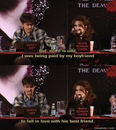 Helena and Johnny at interview for Sweeney Todd