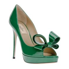 Valentino Green Patent leather peep toe pump Valentino1120