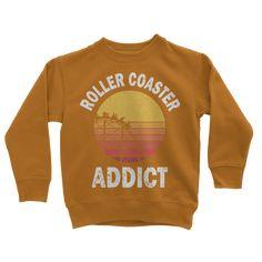 Roller Coaster Addict Classic Kids Sweatshirt - Orange Crush / 5 to 6 Years