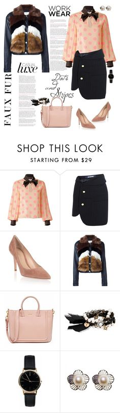 """Faux Fur Coat Work Wear"" by ellie366 ❤ liked on Polyvore featuring Supersweet, Jacquemus, Gianvito Rossi, Urbancode, Chloe + Isabel, Freedom To Exist, GetTheLook, WorkWear, dots and pinstripes"
