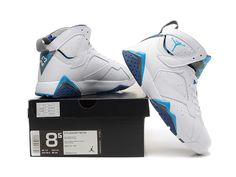 066231e38149 Nike Air Jordan 7 VII White French Blue-Flint Gray Basketball Shoes